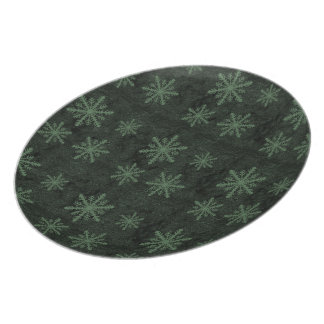 Beautiful Dark Green Snowflake Holiday Pattern - Dinner Plate