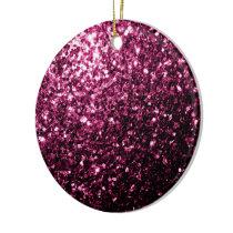 Beautiful Dark Pink glitter sparkles Ceramic Ornament