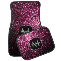 Beautiful Dark Pink glitter sparkles Monogram Car Mat