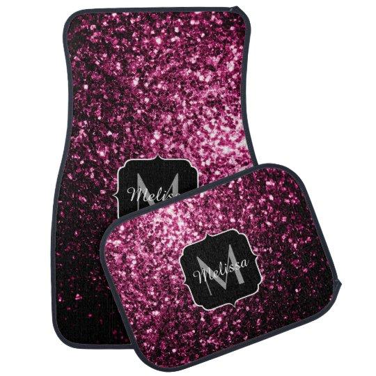 Stupendous Beautiful Dark Pink Glitter Sparkles Monogram Car Mat Uwap Interior Chair Design Uwaporg