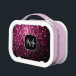"""Beautiful Dark Pink glitter sparkles Monogram Lunch Box<br><div class=""""desc"""">Personalize sparkly lunch box with your initial and name. Beautiful girly glamorous pink shiny glitters sparkles. Photo of pink sparkles not actual glitter!</div>"""