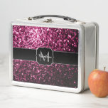 """Beautiful Dark Pink glitter sparkles Monogram Metal Lunch Box<br><div class=""""desc"""">Personalize unique faux sparkly metal lunch box with your initial and name.  Beautiful girly glamorous pink shiny glitters sparkles. Photo of pink sparkles not actual glitter!</div>"""