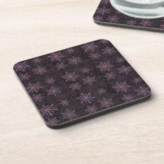 Beautiful Dark Pink Snowflake Holiday Pattern - Coaster