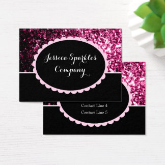 Beautiful Dark Pink sparkles with black ellipse 2 Business Card