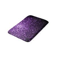 Beautiful Dark Purple glitter sparkles Bathroom Mat