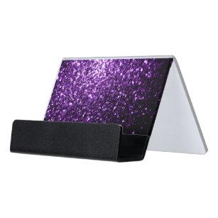 Sparkle business card holders zazzle beautiful dark purple glitter sparkles desk business card holder colourmoves