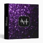 Beautiful Dark Purple glitter sparkles Monogram 3 Ring Binder