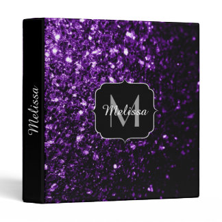 Beautiful Dark Purple glitter sparkles Monogram 3 Ring Binder