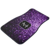 Beautiful Dark Purple glitter sparkles Monogram Car Floor Mat