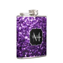 Beautiful Dark Purple glitter sparkles Monogram Hip Flask