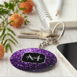 """Beautiful Dark Purple glitter sparkles Monogram Keychain<br><div class=""""desc"""">Personalize sparkly key chain with your initial and name. Beautiful girly glamorous purple shiny glitters sparkles. Photo of purple sparkles not actual glitter!</div>"""