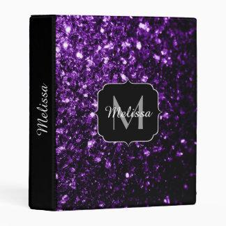 Beautiful Dark Purple glitter sparkles Monogram Mini Binder