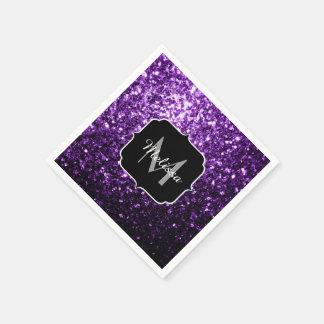 Beautiful Dark Purple glitter sparkles Monogram Paper Napkin