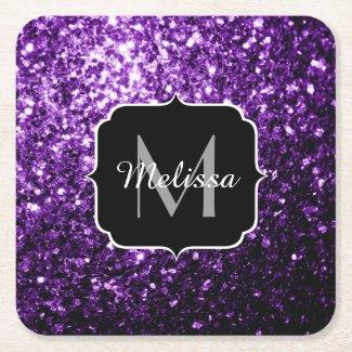 Beautiful Dark Purple glitter sparkles Monogram Square Paper Coaster