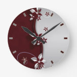Beautiful dark red and silver grey effect flowers round clock
