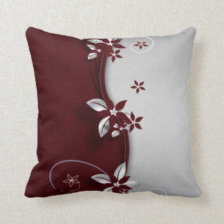 Beautiful dark red and silver grey effect flowers throw pillow