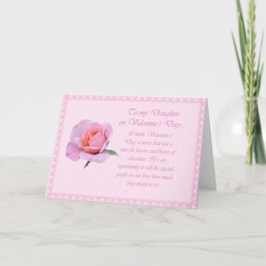 Beautiful daughter valentine pink rose card zazzle beautiful daughter valentine pink rose card m4hsunfo