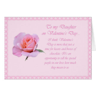 Beautiful Daughter Valentine Pink Rose Card