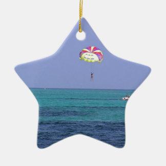 Beautiful day for para-sailing ceramic ornament