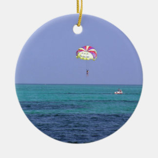 Beautiful day for para-sailing Double-Sided ceramic round christmas ornament