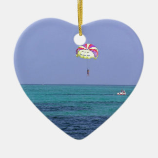 Beautiful day for para-sailing Double-Sided heart ceramic christmas ornament