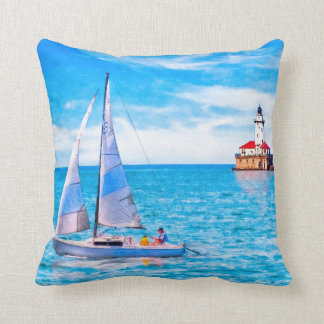 Beautiful Day For Sailing - Chicago Harbor Light Throw Pillow