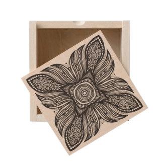 Beautiful Decor Square Doodle Wooden Keepsake Box