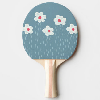 Beautiful Decorative Flower Pattern Rain Clouds Ping-Pong Paddle