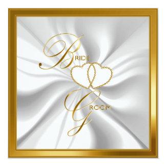 Beautiful Deep Gold and White Satin Wedding Card