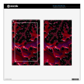 Beautiful Deep Red/BLK/Pink Fractal Skin For Kindle Fire