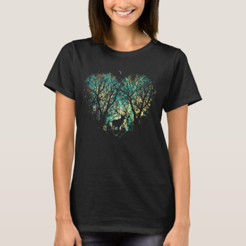 Beautiful deer silhouette in the heart of Forest T_Shirt
