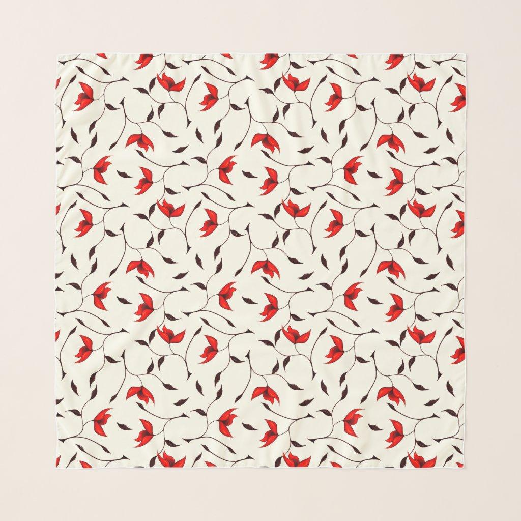 Beautiful Delicate Red Flower Pattern