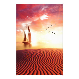 Beautiful desert and ship fantasy illustration stationery