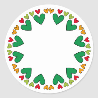 Beautiful design with heart border classic round sticker