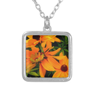Beautiful display or orange and yellow flowers silver plated necklace