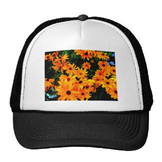 Beautiful display or orange and yellow flowers trucker hat