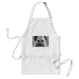 Beautiful Dog Face Black and White Adult Apron
