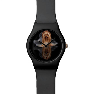 Beautiful dog on black reflecting background wrist watch