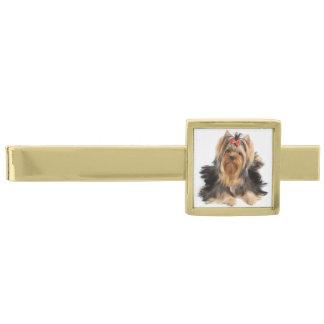 Beautiful dog on swite gold finish tie clip
