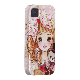 Beautiful doll girl with teddy bear iPhone 4/4S covers