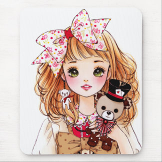 Beautiful doll girl with teddy bear mouse pad