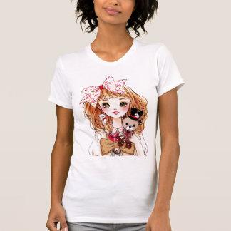 Beautiful doll girl with teddy bear shirt