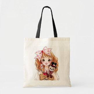 Beautiful doll girl with teddy bear tote bag