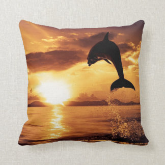 Beautiful Dolphin at Sunset Throw Pillow