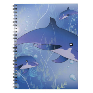 Beautiful dolphin spiral note books