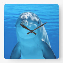 Beautiful dolphin square wall clock