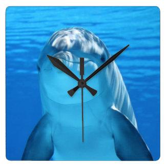 Beautiful dolphin square wall clock