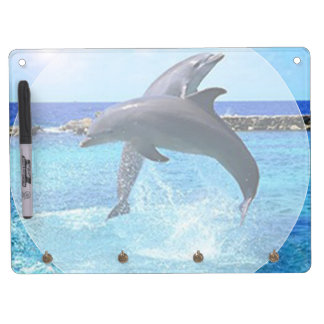 Beautiful Dolphins playing in the ocean Dry Erase Board With Keychain Holder