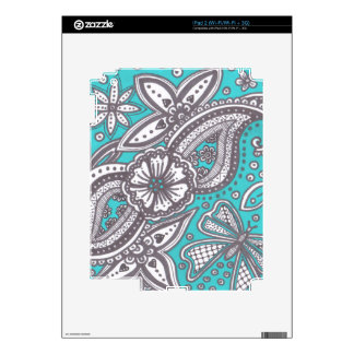 beautiful doodle on turquoise background decal for iPad 2