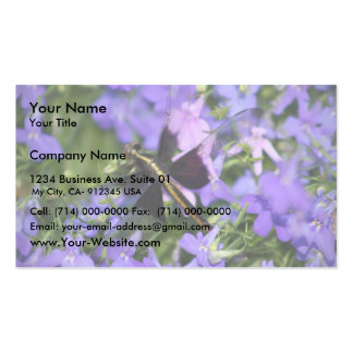 Beautiful Dragon Fly Flying In Purple Flowers Double-Sided Standard Business Cards (Pack Of 100)